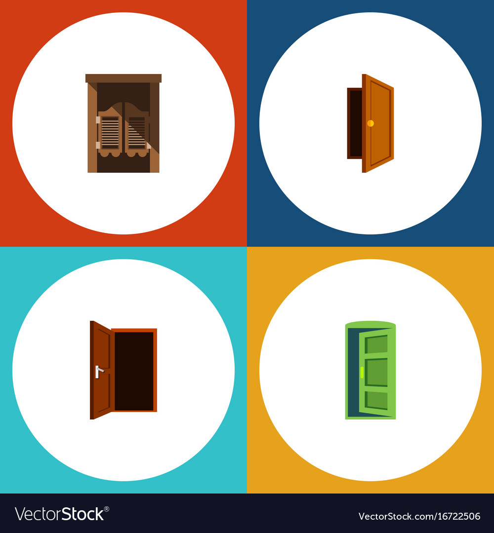 Flat icon door set of frame saloon entry and vector image