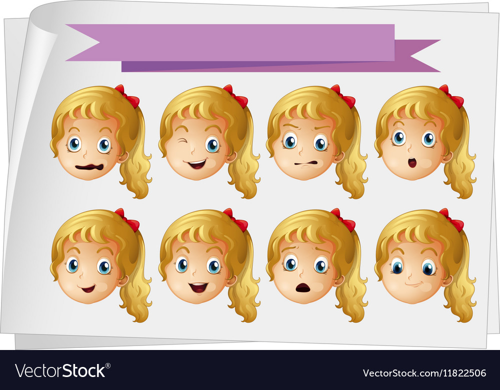 Girl faces with different emotions vector image