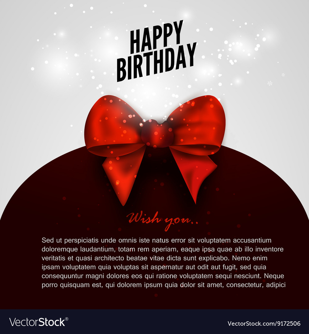 Happy birthday background with red bow design
