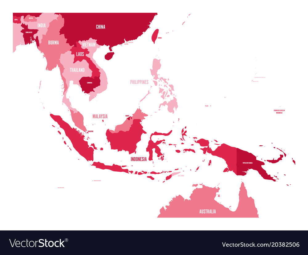 Map of southeast asia map in shades of