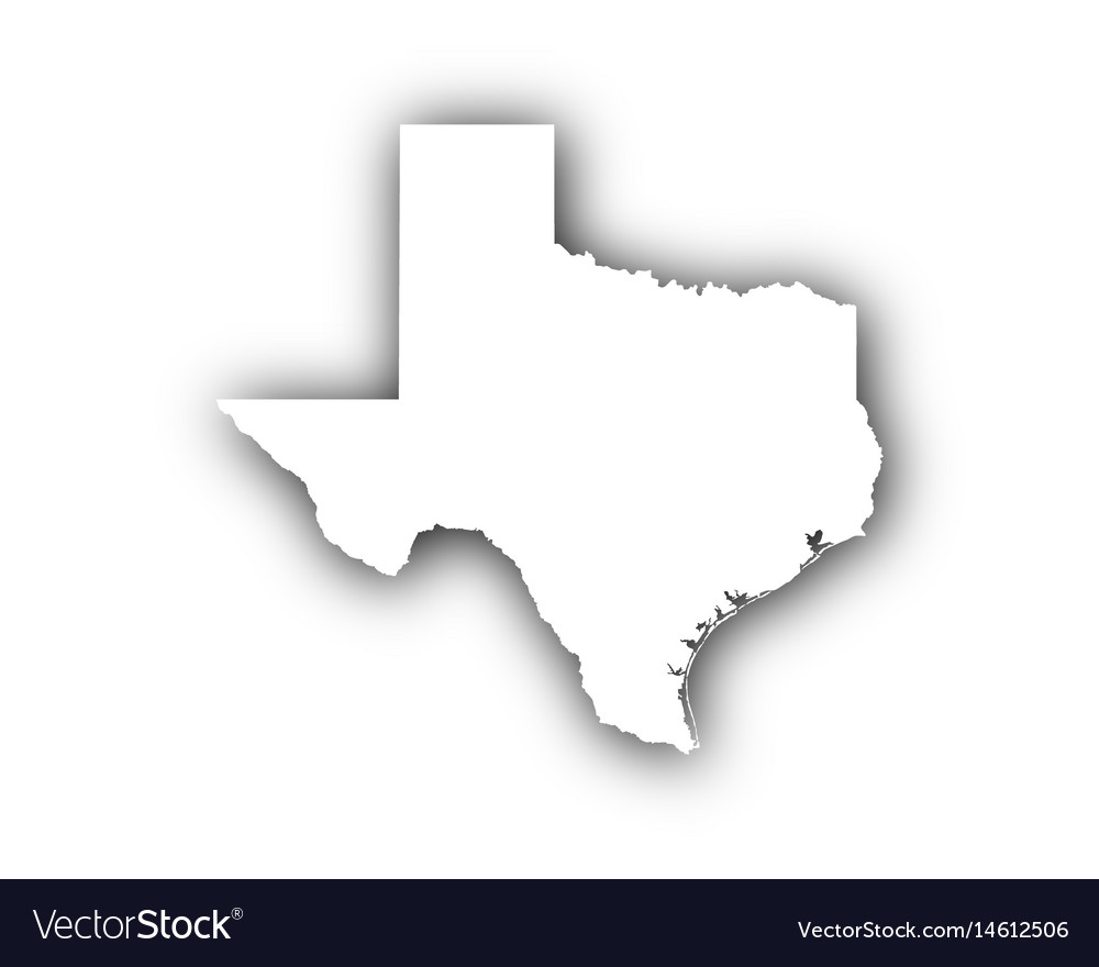 Map of texas with shadow