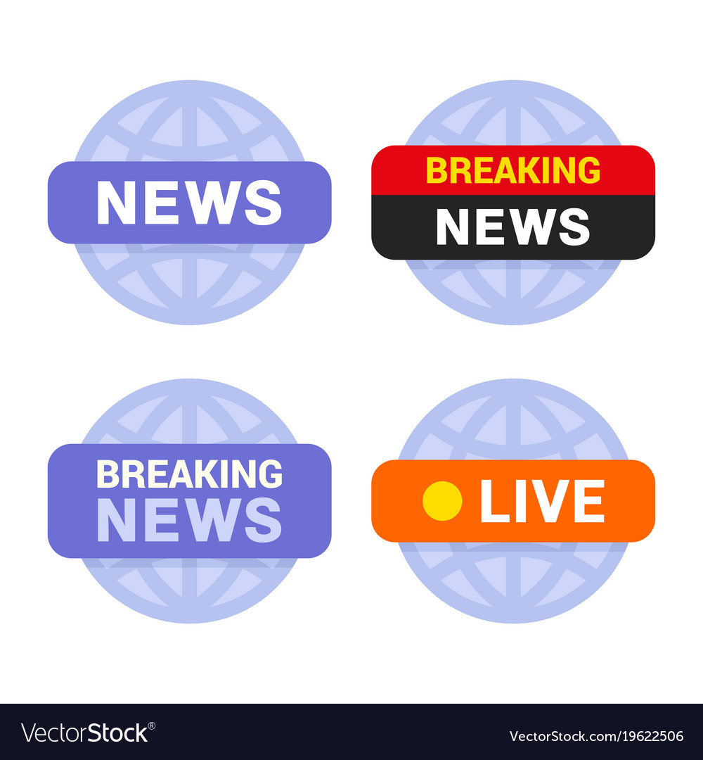 News media icons set on white background