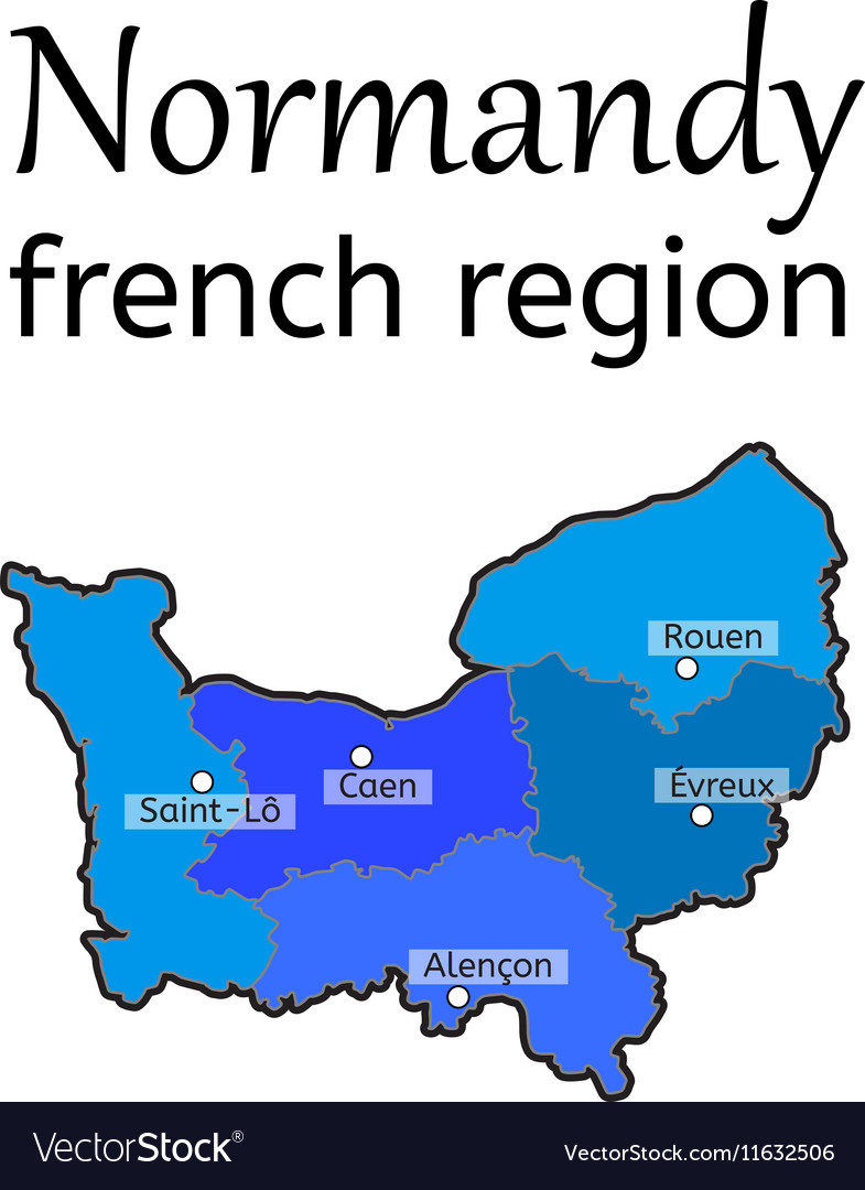 Evreux France Map.Normandy French Region Map Royalty Free Vector Image