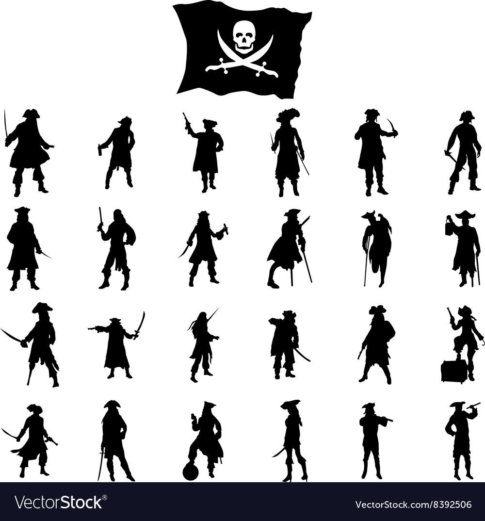 Pirates crew silhouettes set vector image