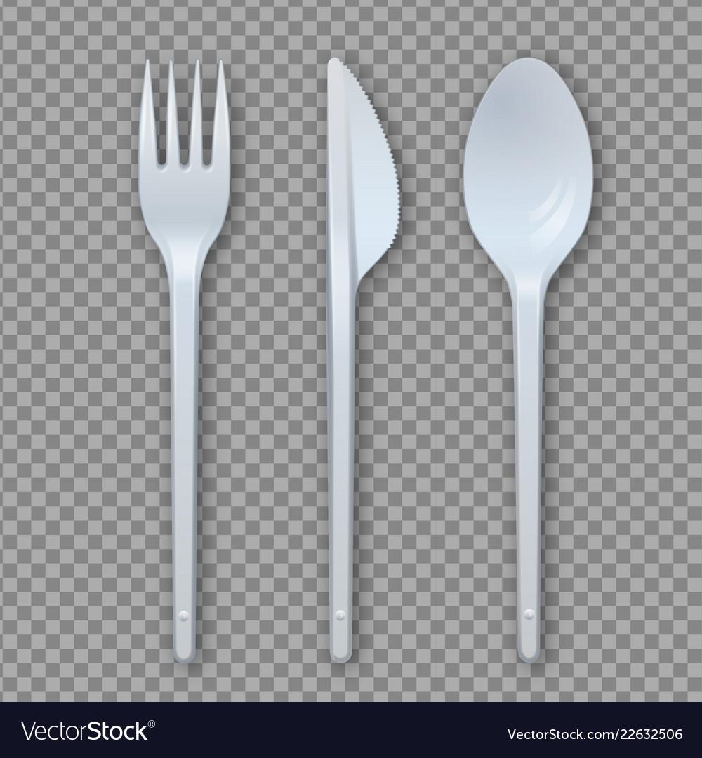 Realistic plastic cutlery set fork knife spoon