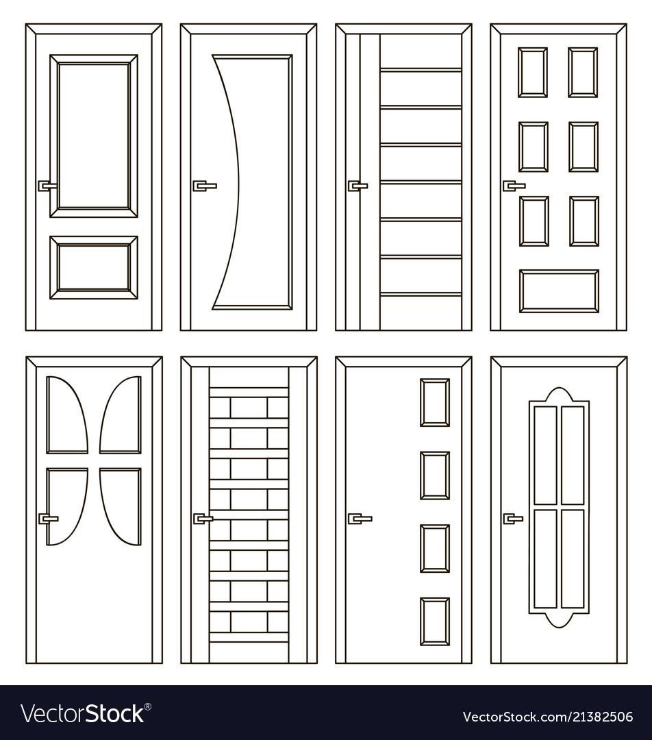 Realistic room doors icons