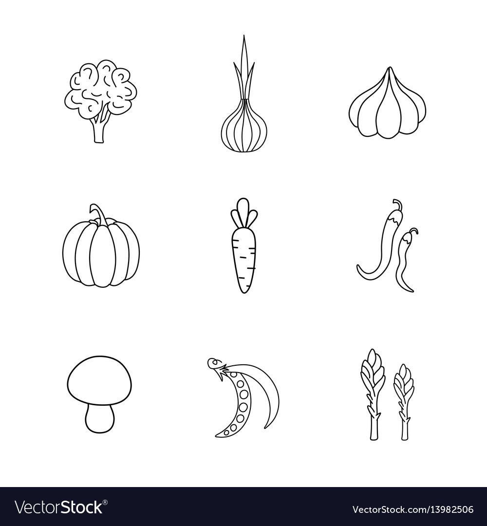 Set hand drawn vegetables handdrawn elements for