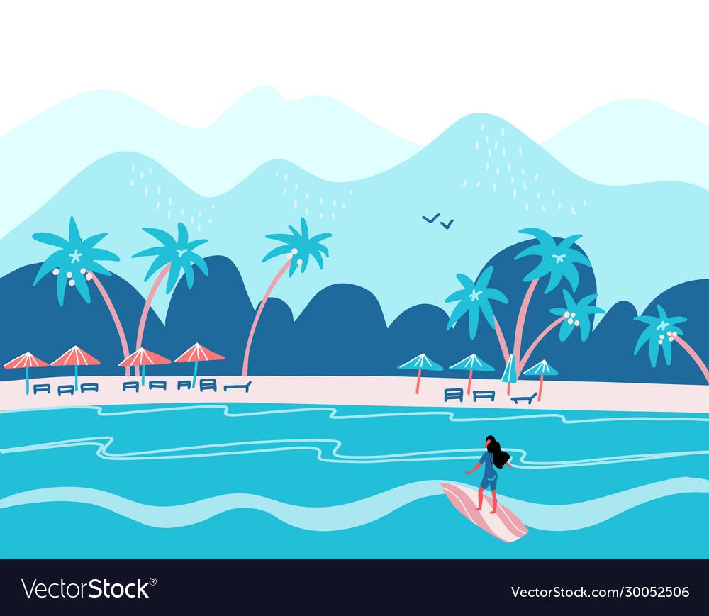 Surfing girl on a beach palm sand ocean on