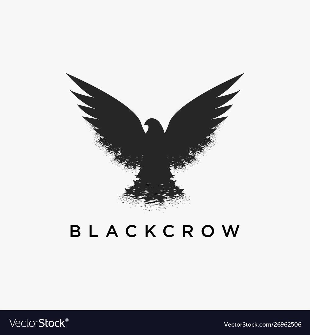 Vintage retro hipster flying crow logo icon