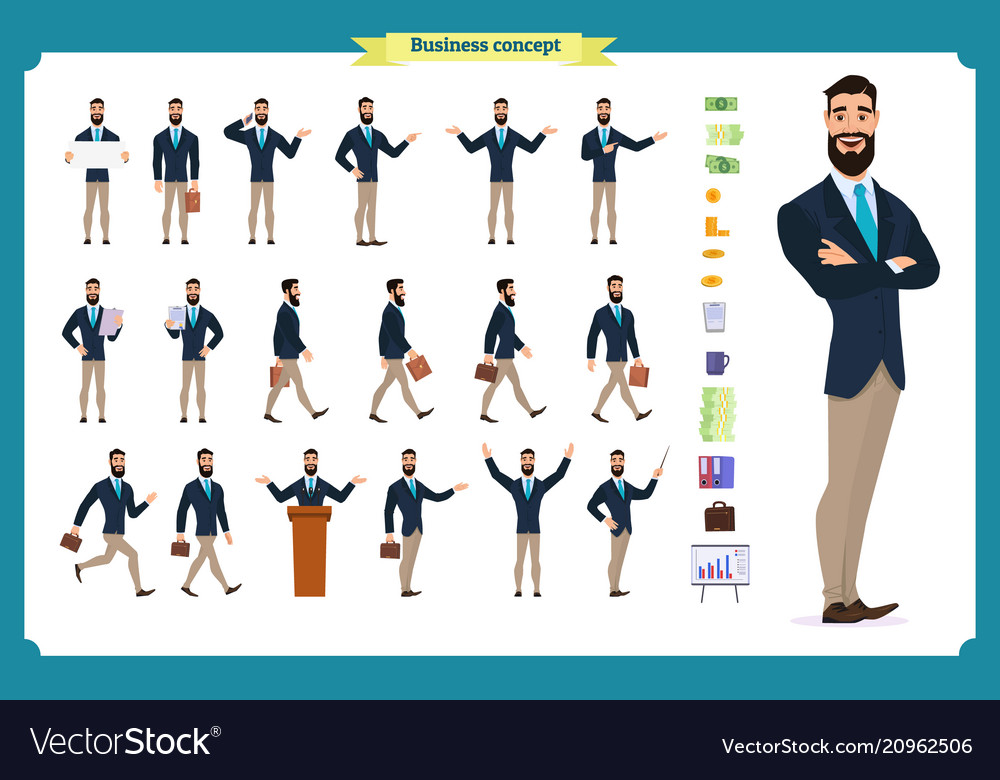 Young businessmandifferent poses and emotions