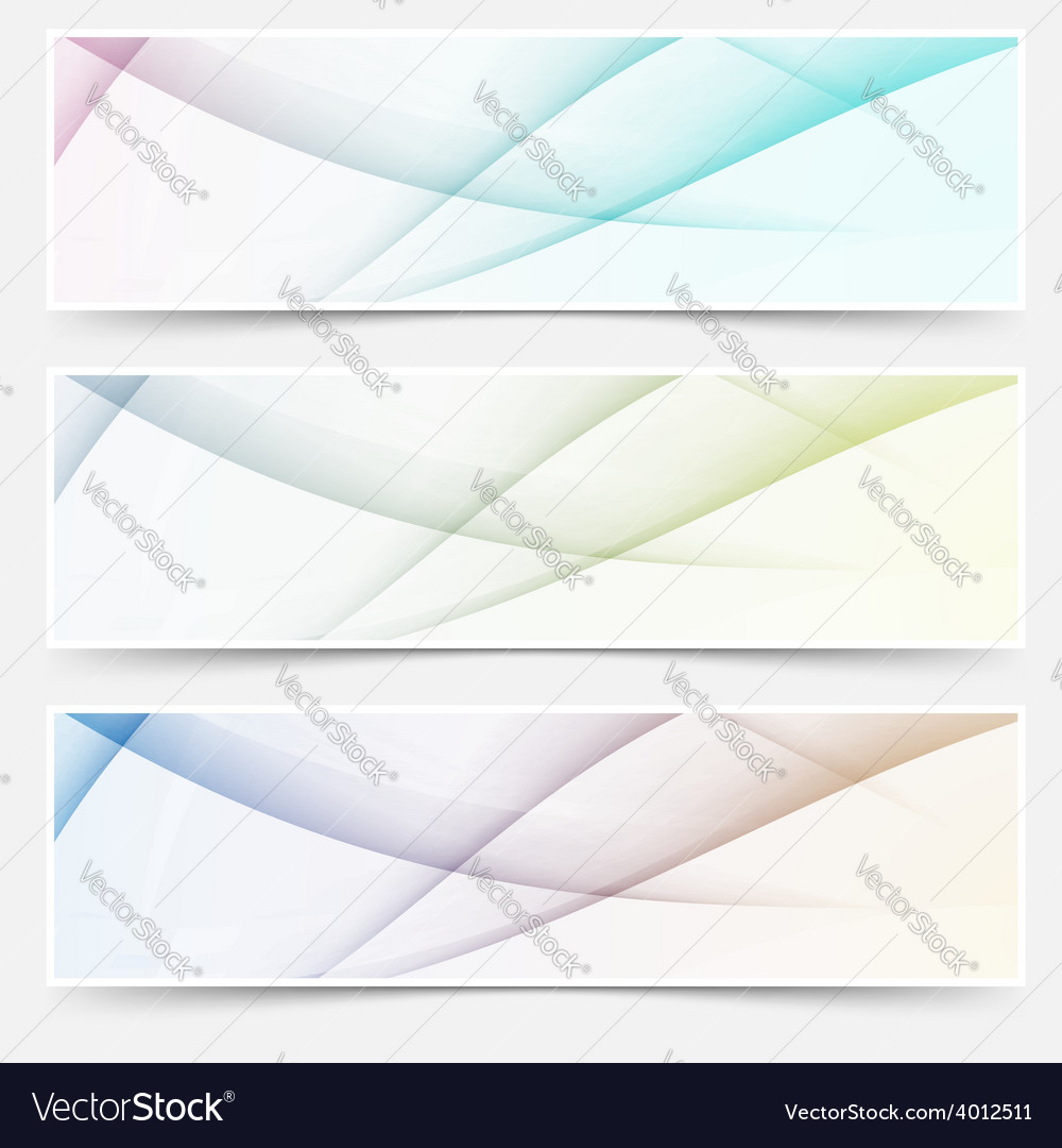 Abstract swoosh line header web footer set
