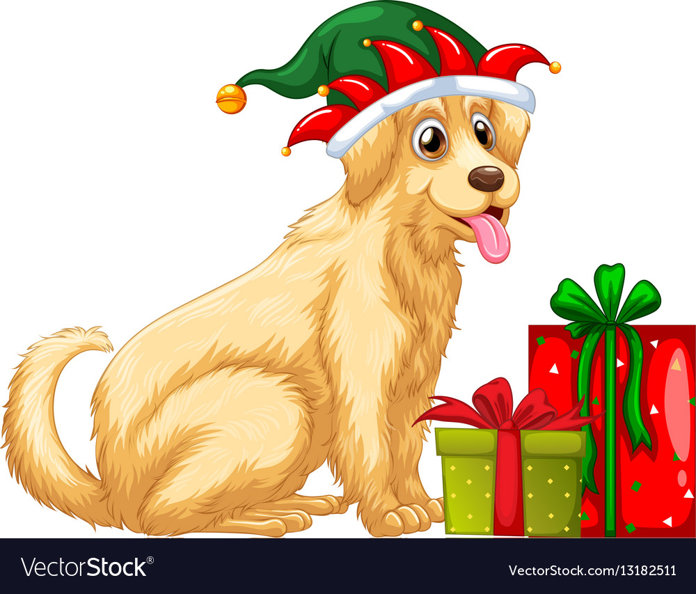 Christmas Theme With Cute Dog And Presents Vector Image