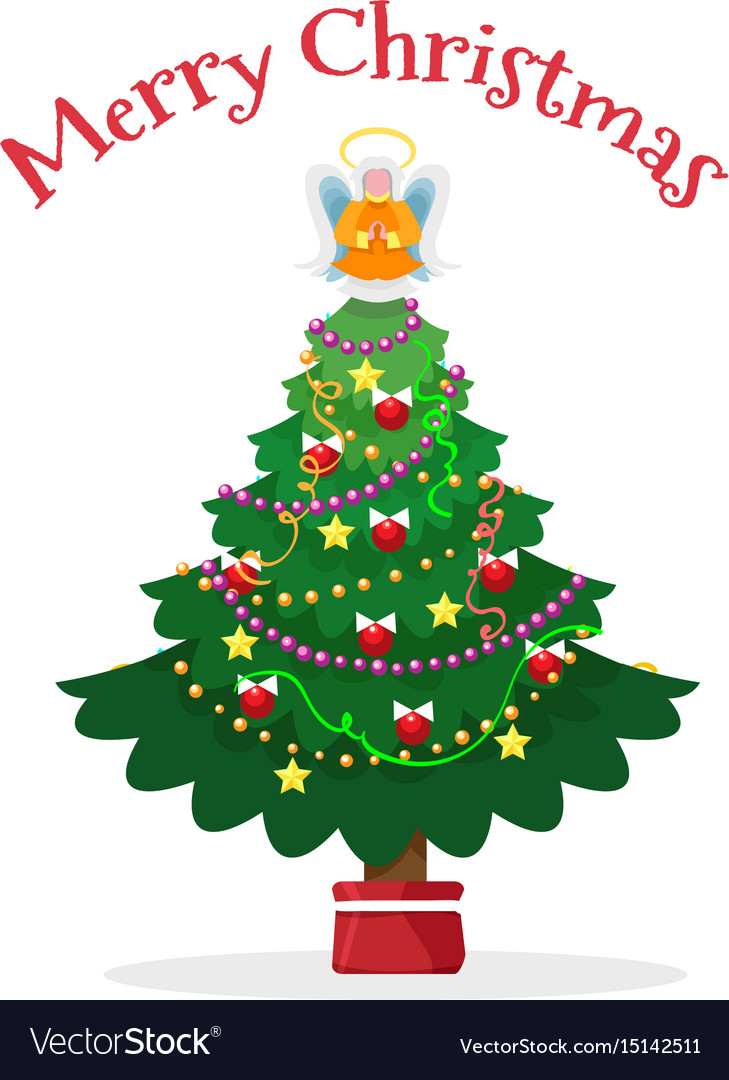 Christmas Tree With Pot And Angel Royalty Free Vector Image