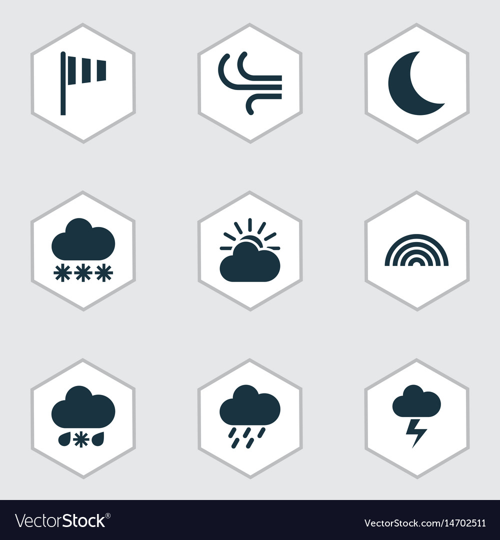 Climate icons set collection of flag breeze sun