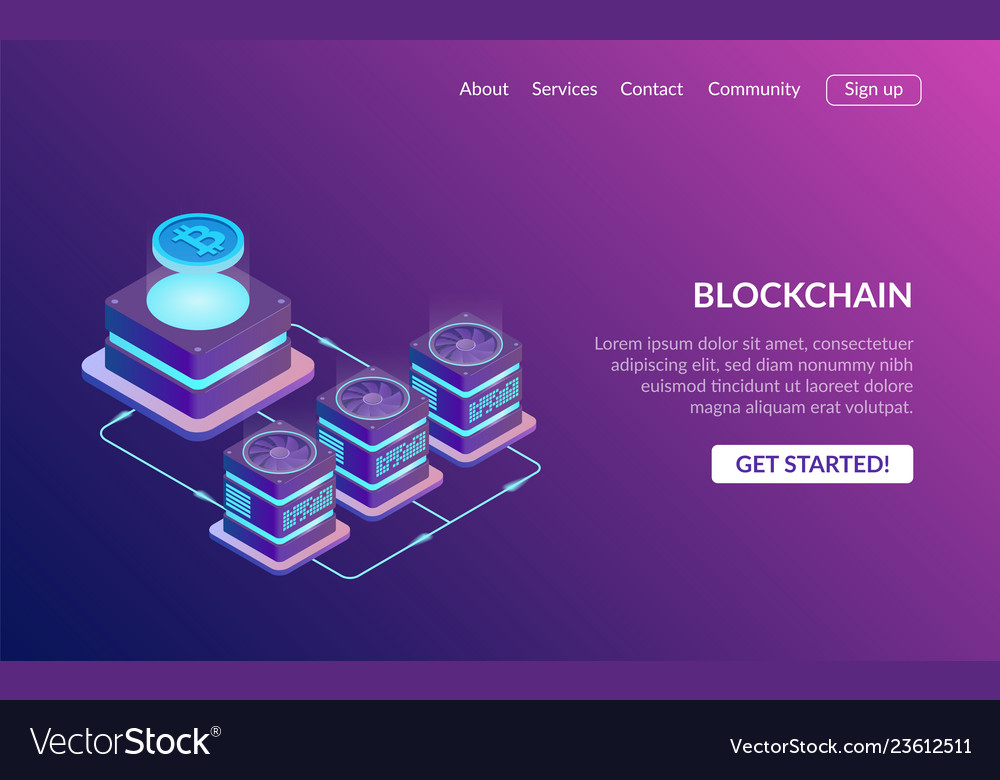 Cryptocurrency and blockchain concept farm for