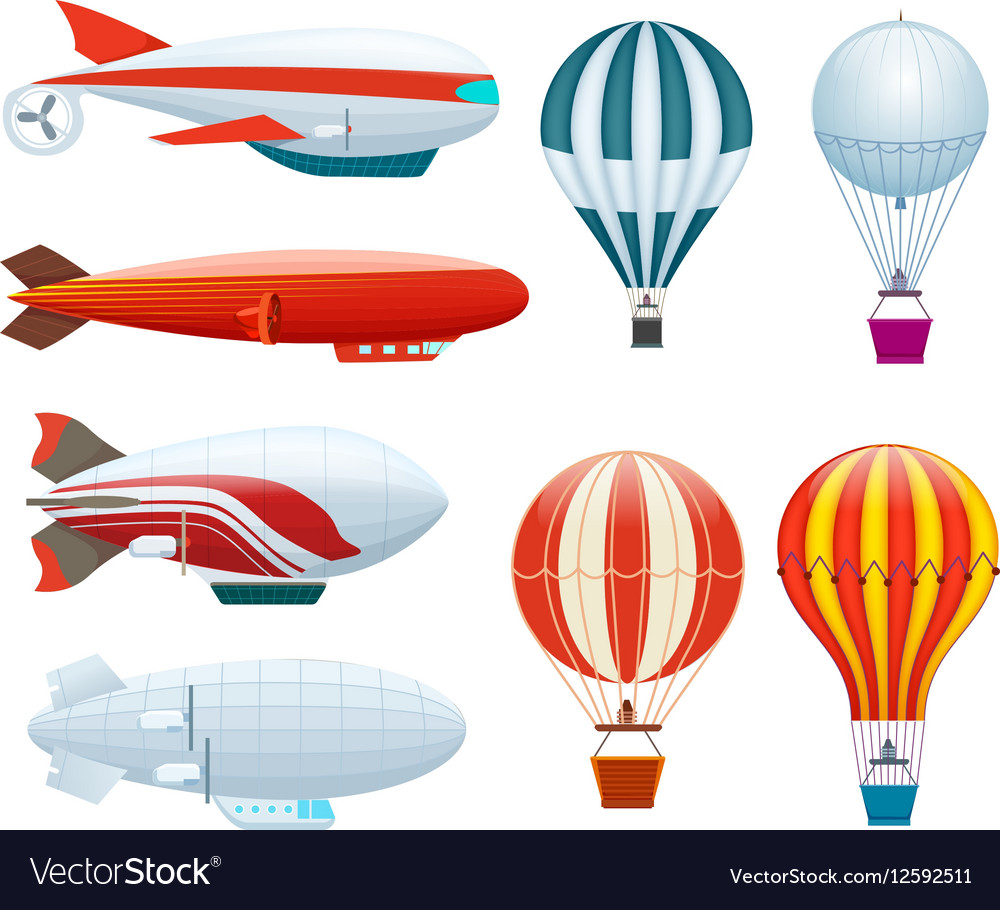 Hot air balloon isolated set