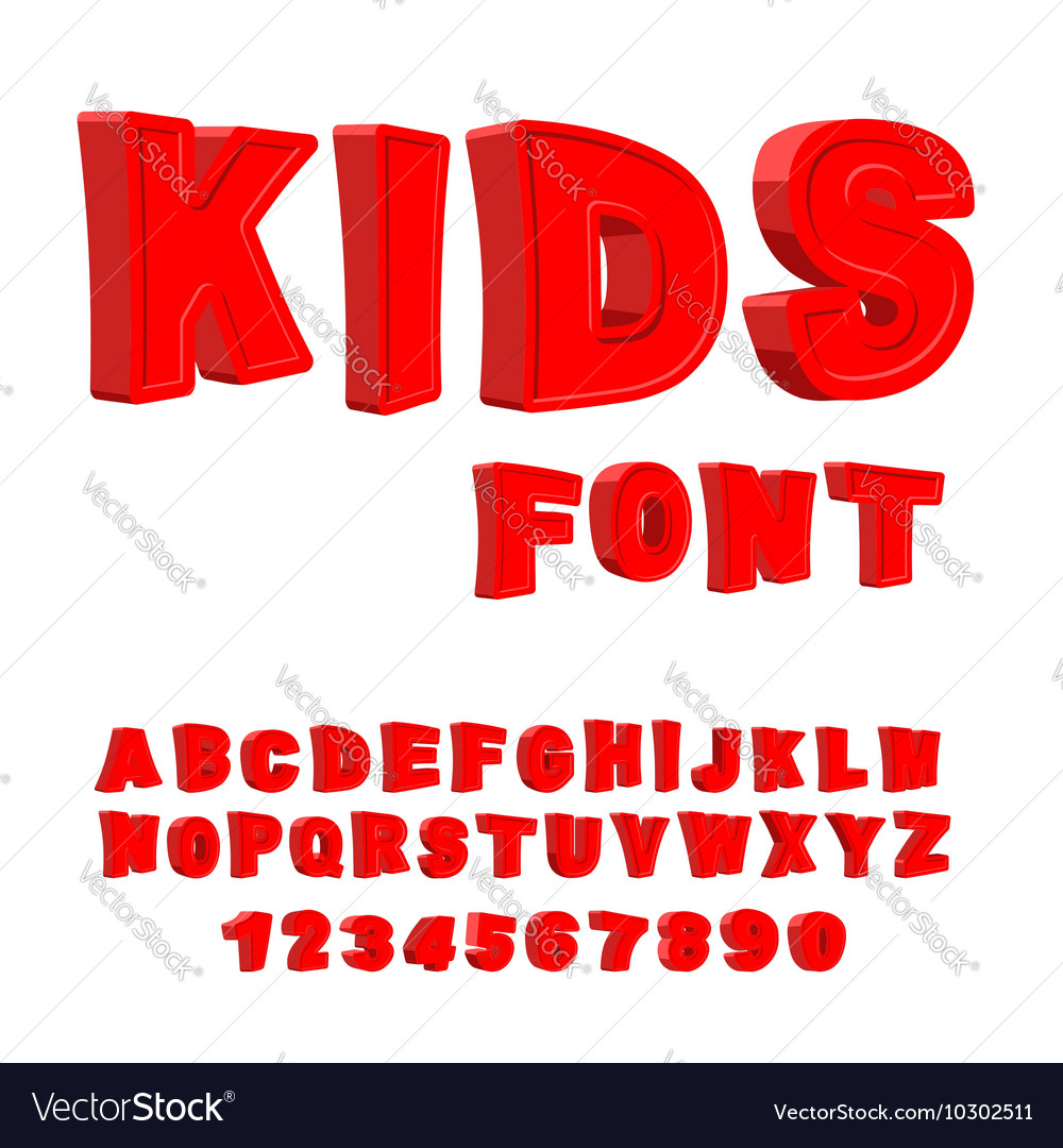 Kids font 3D letters Alphabet for children Red
