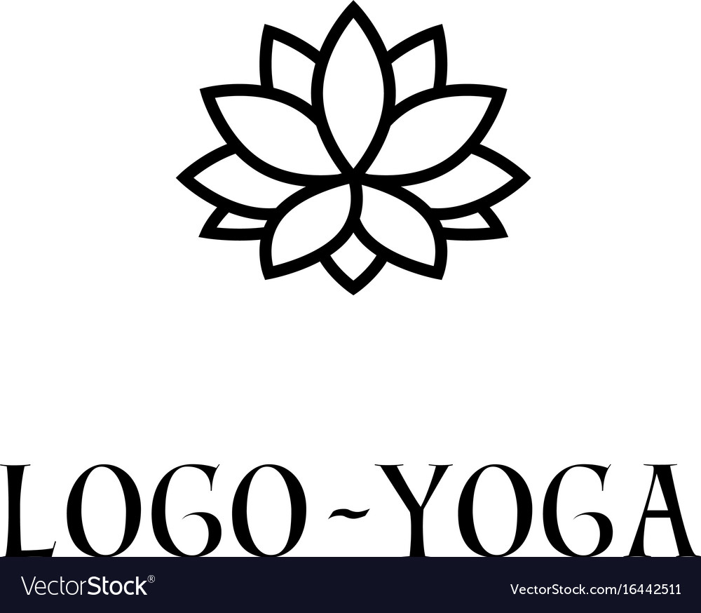 Lotus logo template logotype for yoga practice vector image
