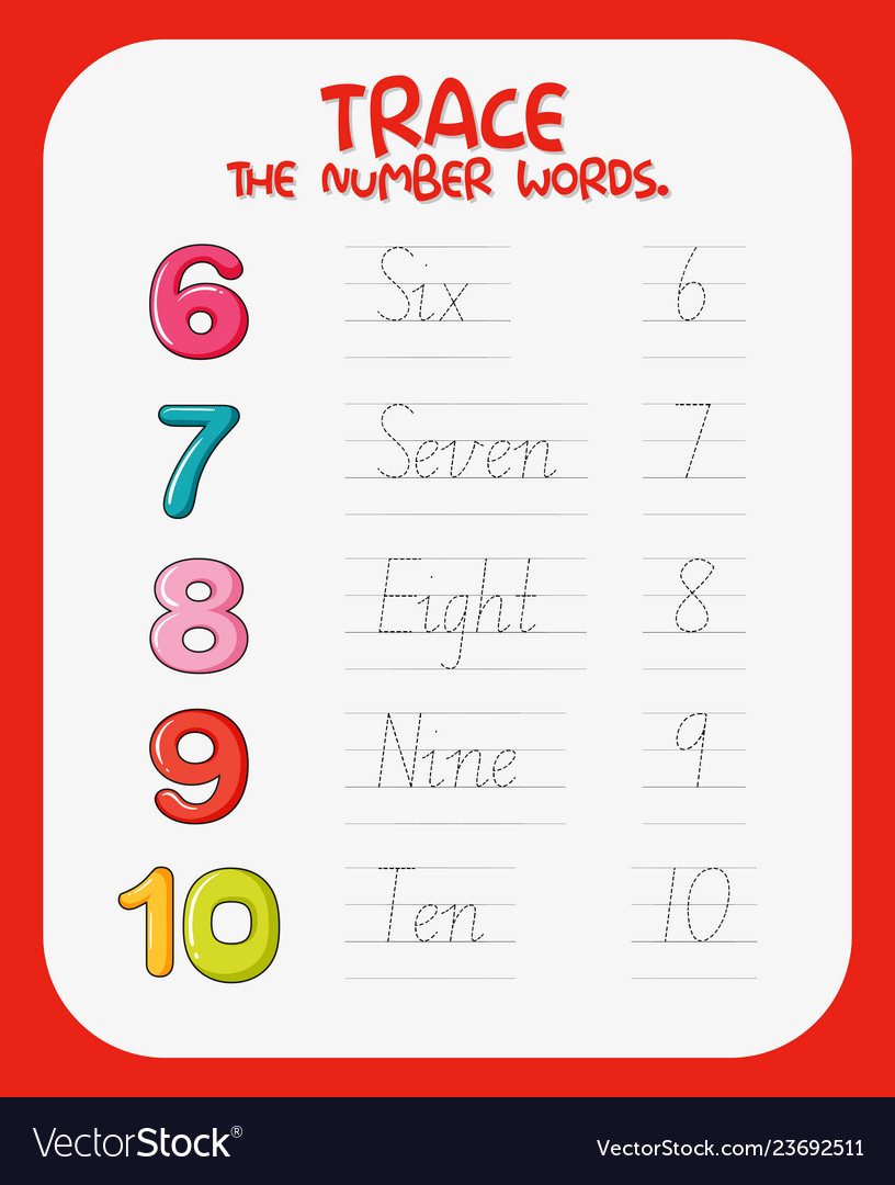 - Math Number Tracing Worksheets Royalty Free Vector Image