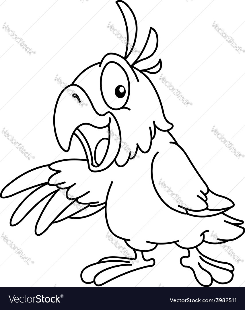 Outlined presenting parrot vector image