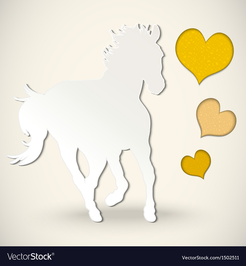 Paper cut greeting card with horse and hearts vector image