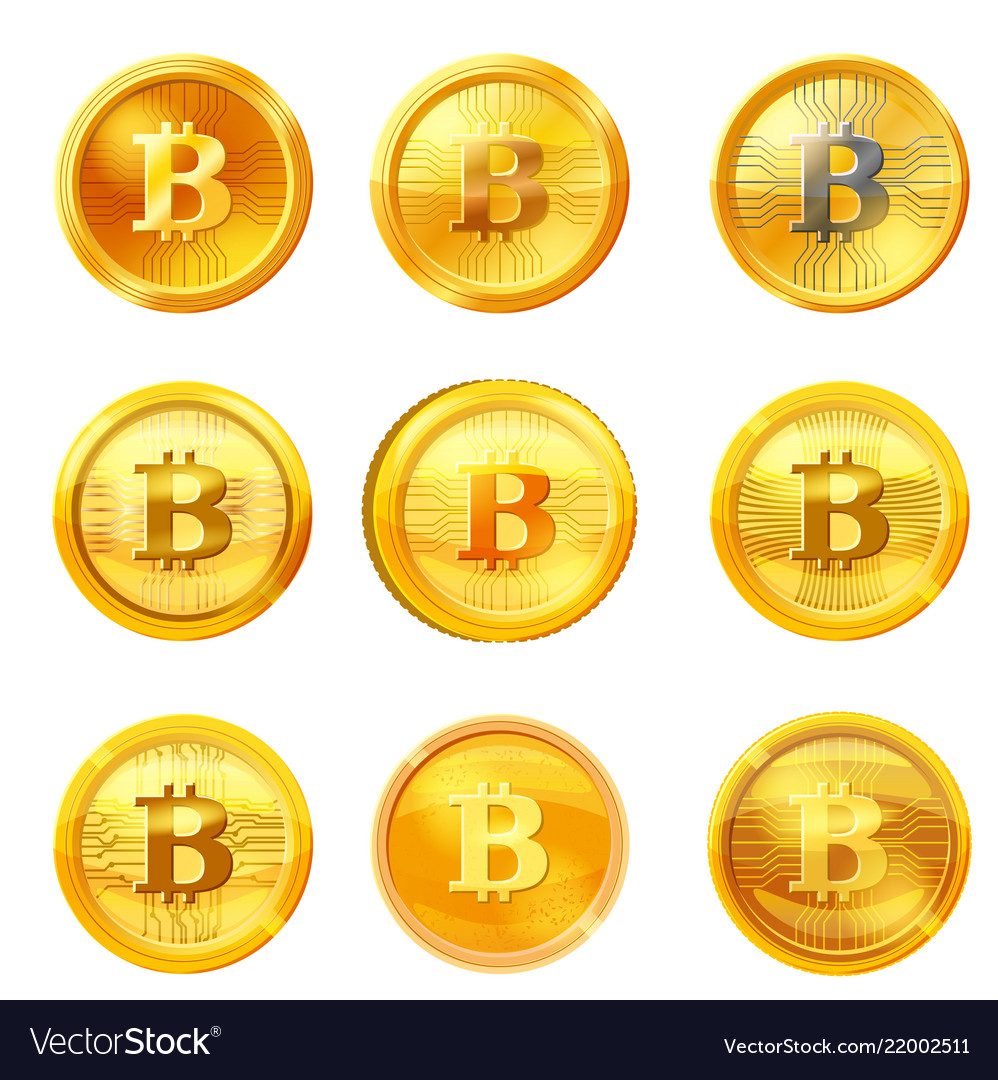 Set gold bitcoin coin isolated background