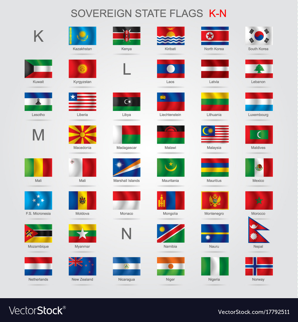 set of sovereign state flags k n royalty free vector image
