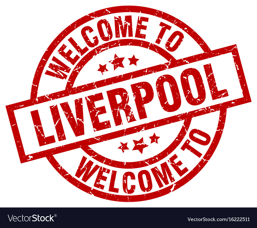welcome to liverpool red stamp royalty free vector image vectorstock