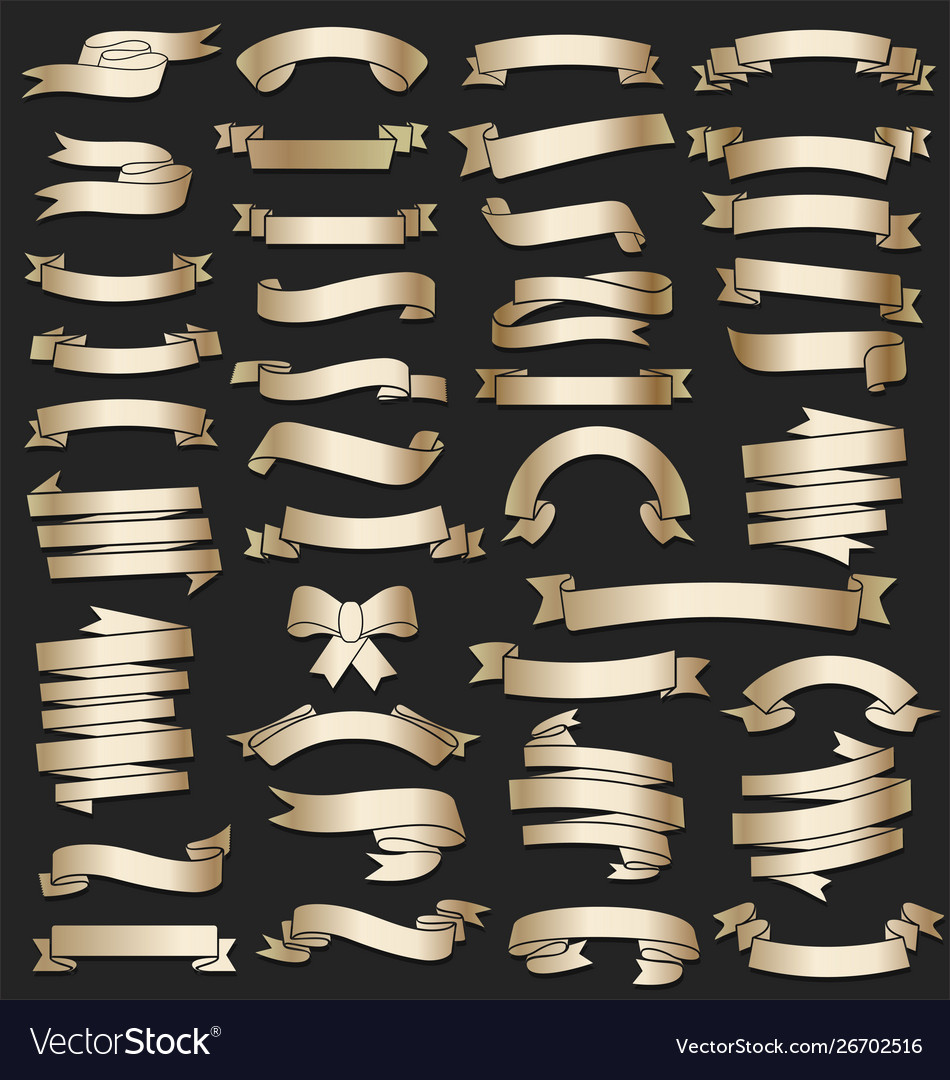 A collection various gold ribbons