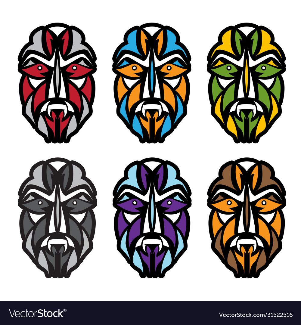 African colorful masks set design template