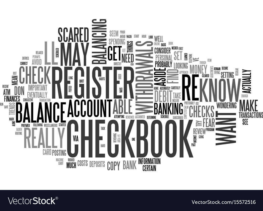 are you scared of your checkbook register text vector image