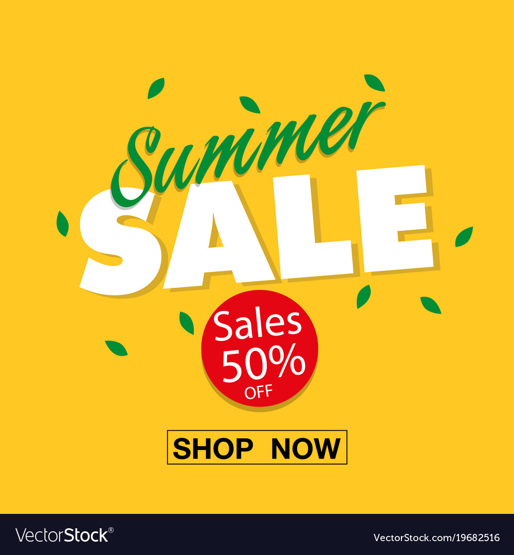 fa70356cd2c Banner summer sale 50 off shop now image Vector Image