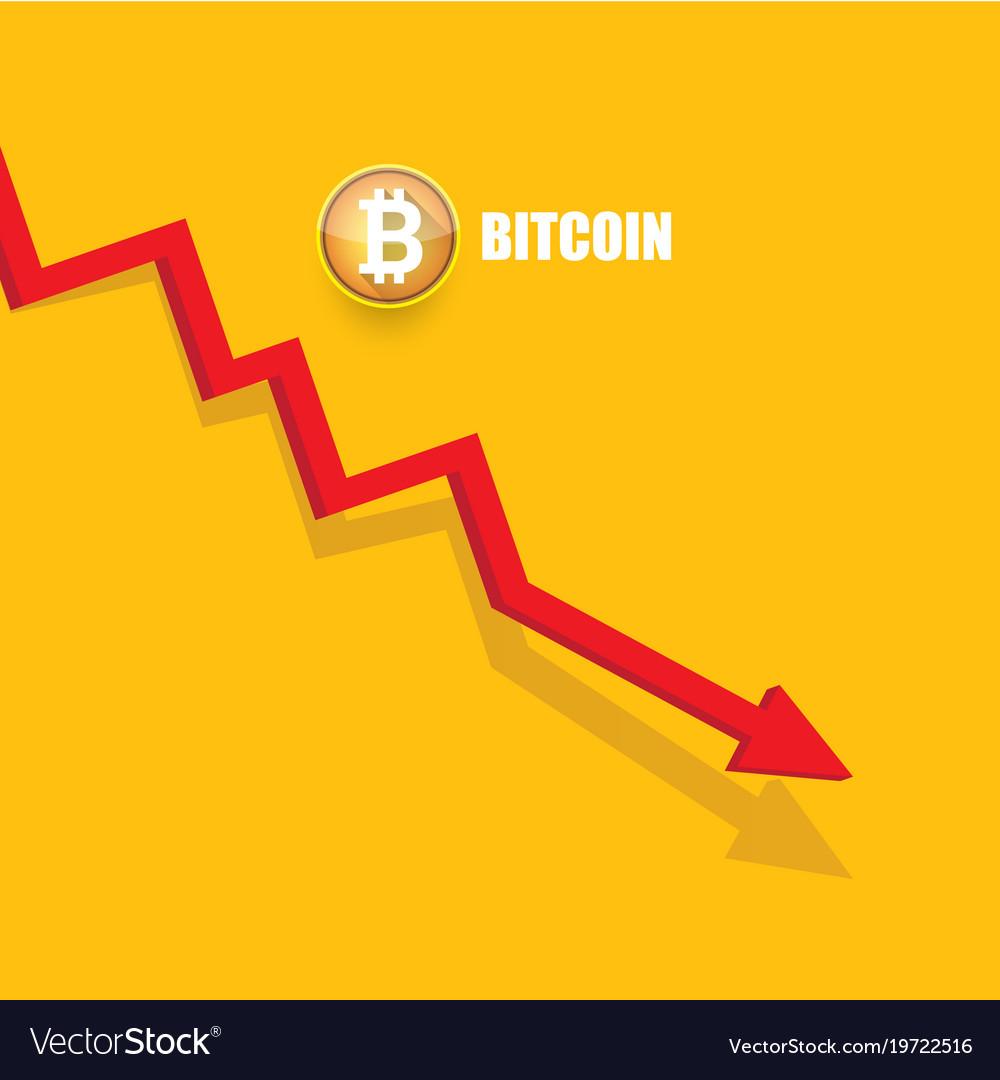 Bitcoin market crash graph on orange
