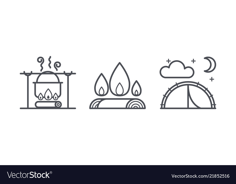 Camping icons outdoor activity and hiking outline