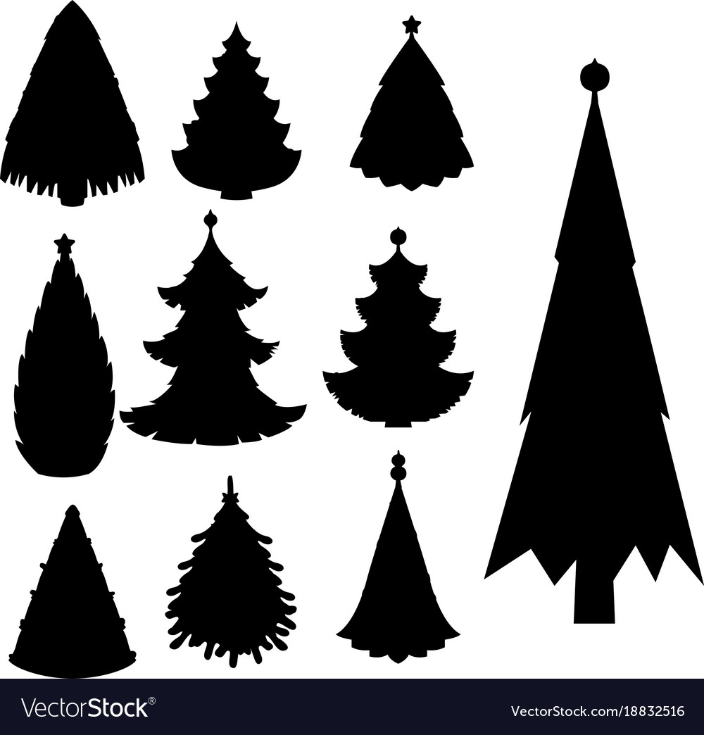 Christmas Trees Silhouette.Christmas Tree Black Silhouette Star Xmas