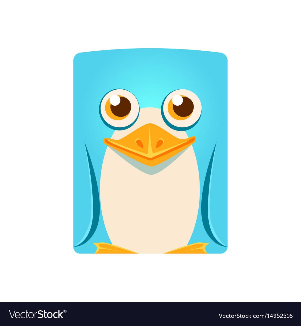 Cute friendly geometric penguin bird colorful