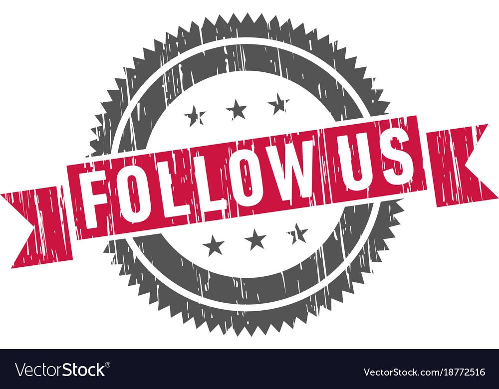 Follow us stamp sign seal