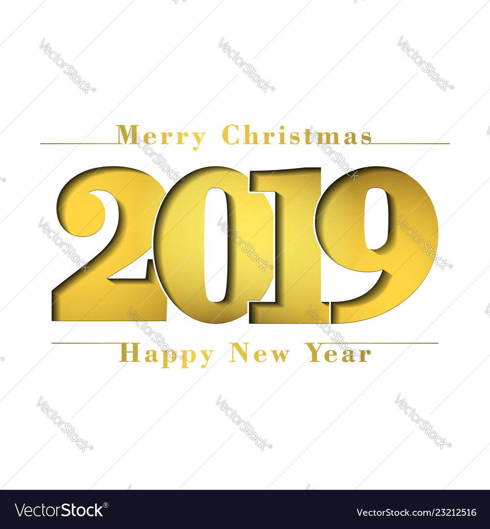 Happy new year merry christmas card gold number