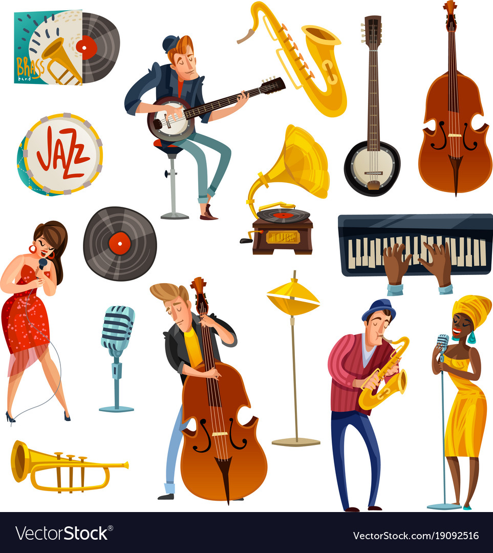 Jazz Band Cartoon Background — Stock Vector © macrovector ...