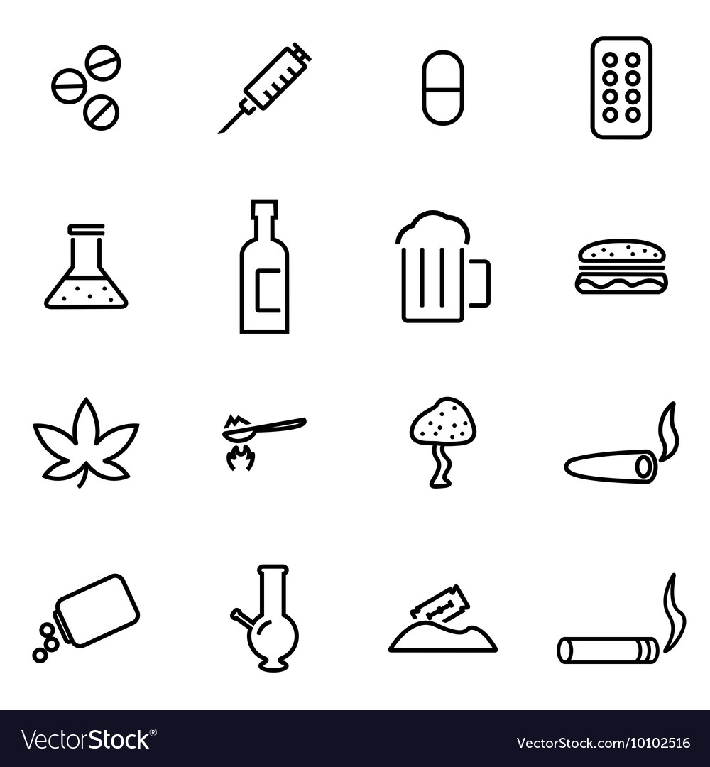 Line drugs icon set