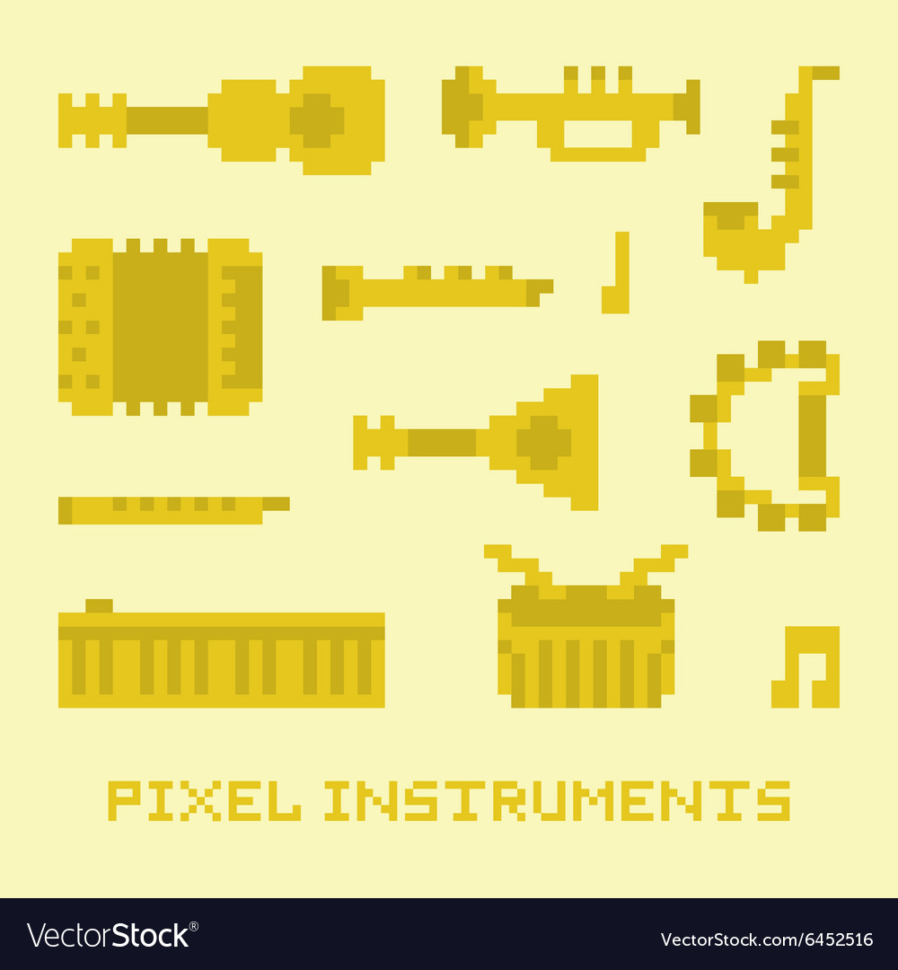 Pixel art music instruments isolated