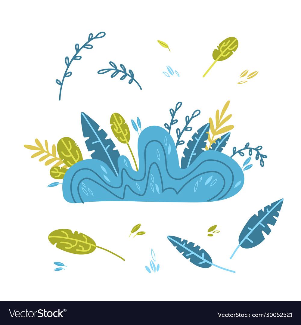 Abstract cartoon doodle bush grass drawing