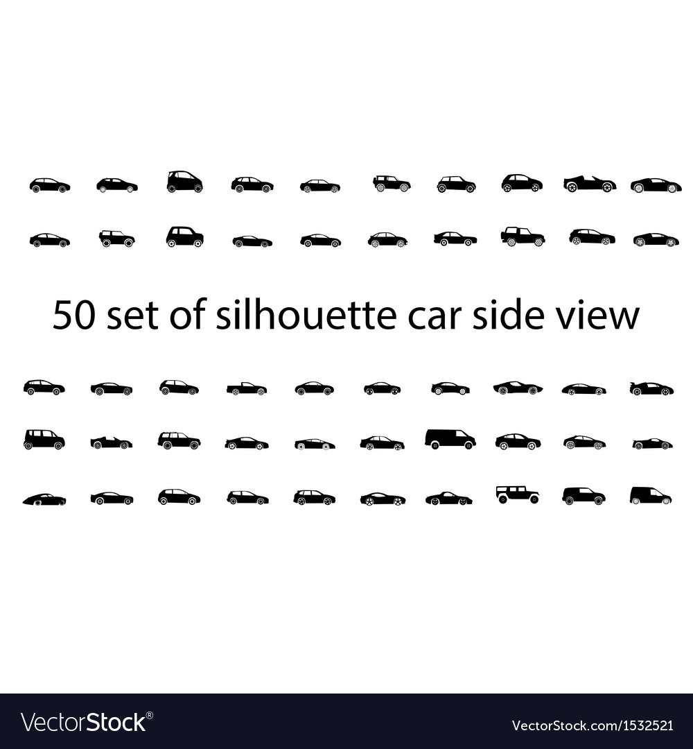 Car side view set vector image