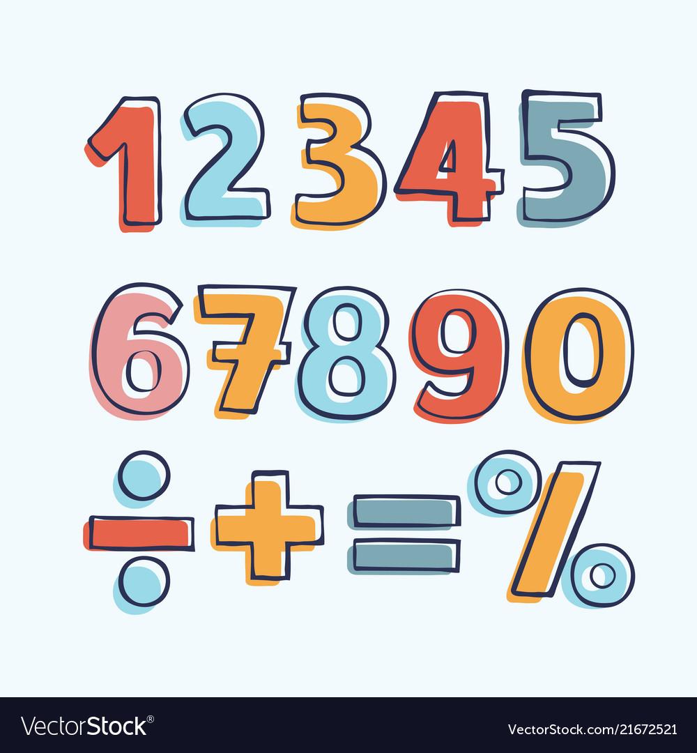 Cartoon kids figures set of color numbers