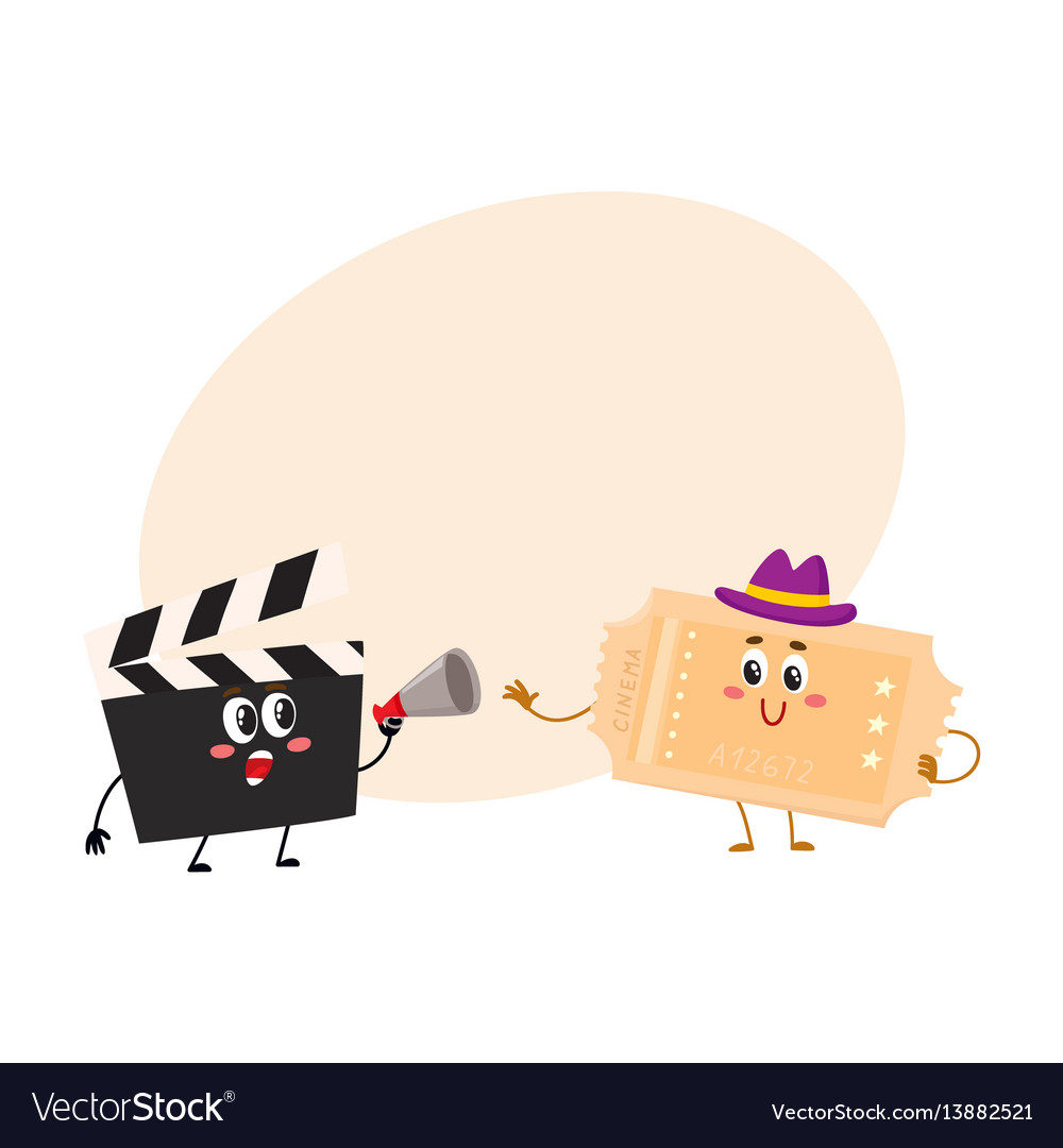 Cinema production clapperboard movie ticket