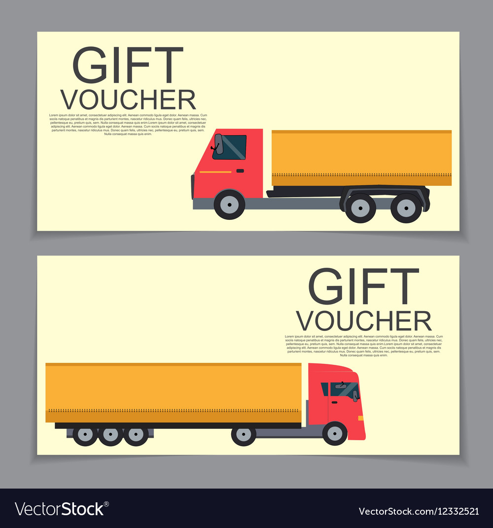 Gift Voucher Template with machines for cargo vector image
