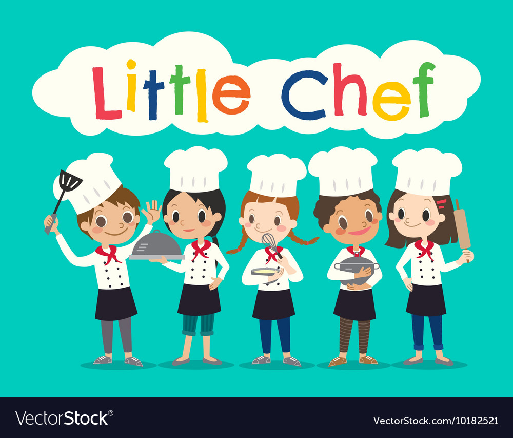 Group young chef children kids cartoon
