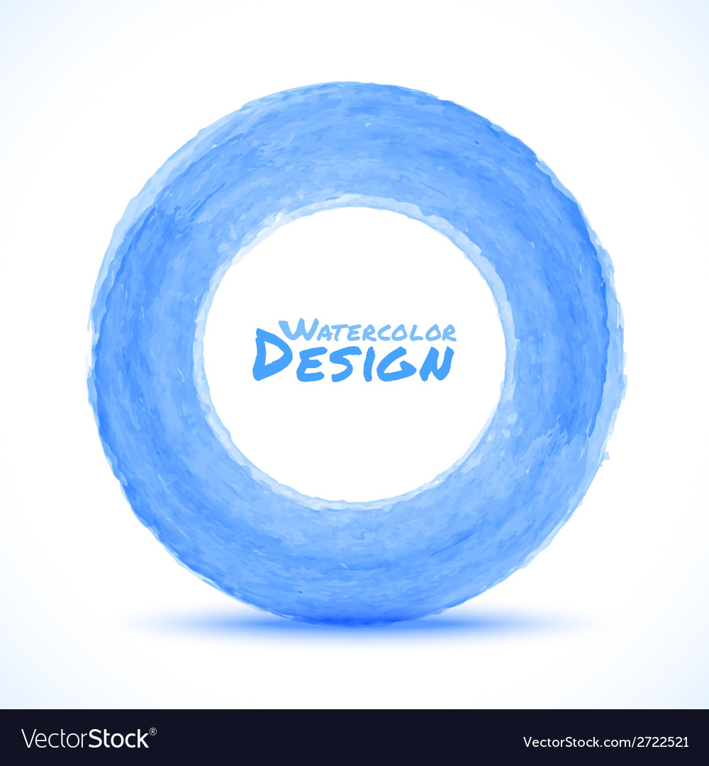 Hand drawn watercolor blue light circle design ele