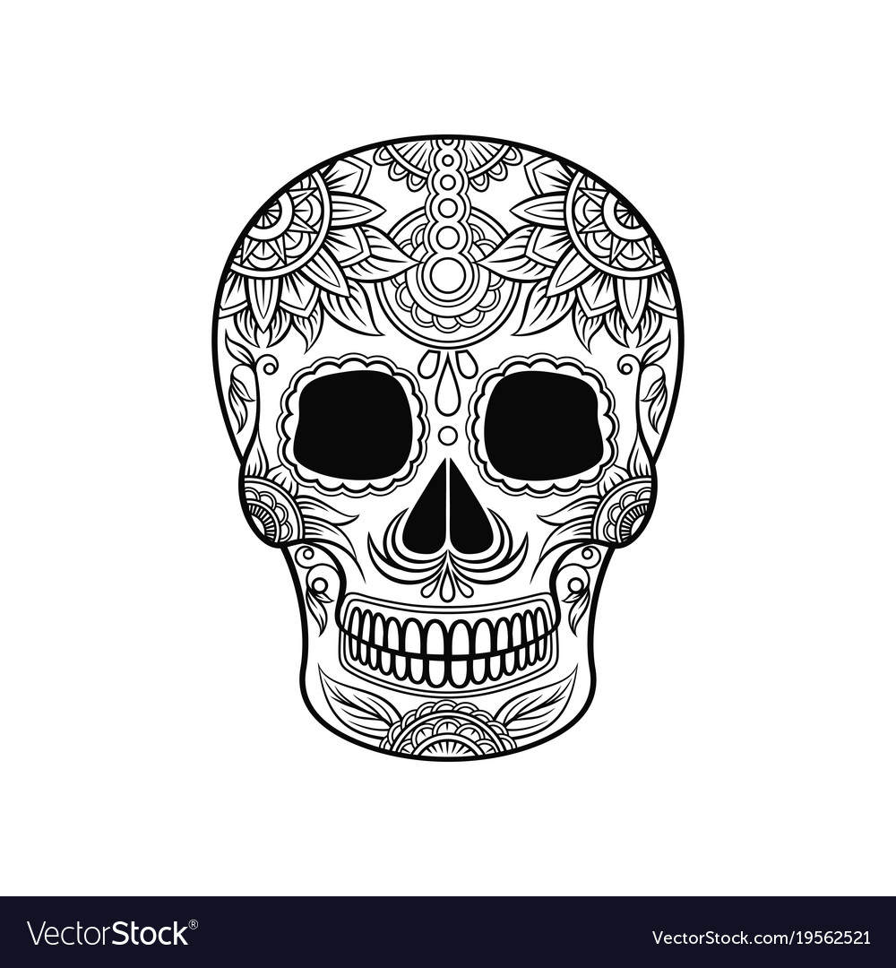 Mexican sugar skull with floral ornament day of