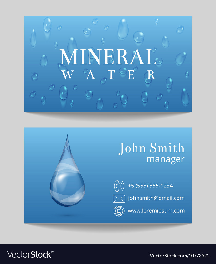 Mineral water delivery business card template vector image colourmoves
